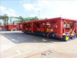 Fabrication loaded to Mafi trailers and awaiting vessel loading Singapore wharf in January 2013