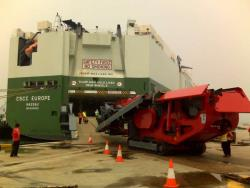 Mobile crushing machine vessel embarkation Singapore